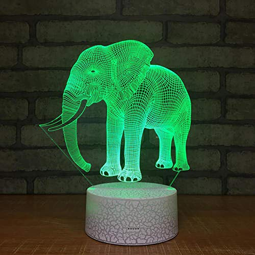 Huizheng Luz de la noche del bebé 3d Elefante africano 7 Cambio de color con acrílico plano Base ABS Cargador táctil Interruptor táctil Mesas de noche y lámparas de mesa regalo para niñas