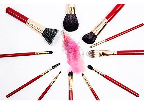 Java Ensemble De Pinceaux De Maquillage Rouge - 11 Pinceaux - 1 Sac Noir