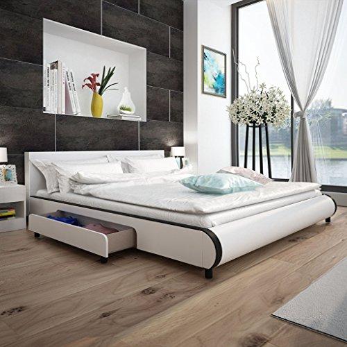 Anself Polsterbett Doppelbett Bett Ehebett aus Kunstleder mit 2 Schubladen 180x200cm ohne Matratze Weiß