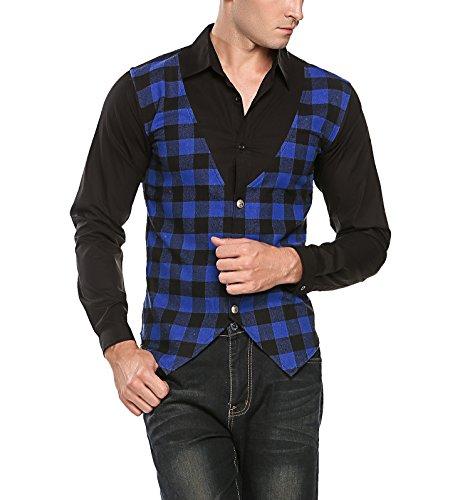 Burlady Herren hemd Kariert Langarmhemd Freizeit Flanellhemd Patchwork Button-down Shirts Blau