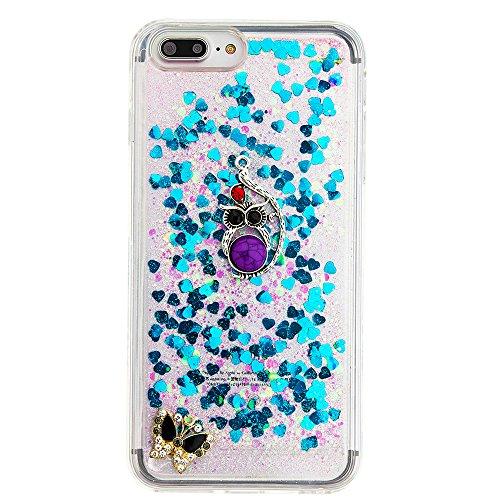 """Flüssiges Case Ultra Thin Dünn TPU Silikon Schutzhülle für iPhone 7 plus 5.5"""" 3D Kreative Liquid Handyhülle Durchsichtig Rückseite Tasche Glitter Shiny Kristall Klar Handytasche Sparkle Dynamisch Trei E15"""