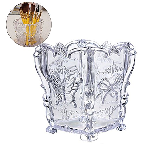 Frcolor Acrylic Makeup Brush Container Cup Papillon Carved Cosmetic Brush Pot Storage Holder Organizer (Transparent)