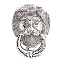 Large Lions Head Front Door Knocker - Polished Chrome / Silver