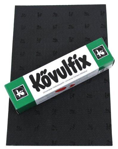 Gomma Tacchi lenzuolo Kit per riparazione scarpe fai da te - 1 lo sbandamento piatto 160 x 250 mm - Nero - e 1 tubo scarpa colla 60g. alta qualità prodotti prodotto in Germania