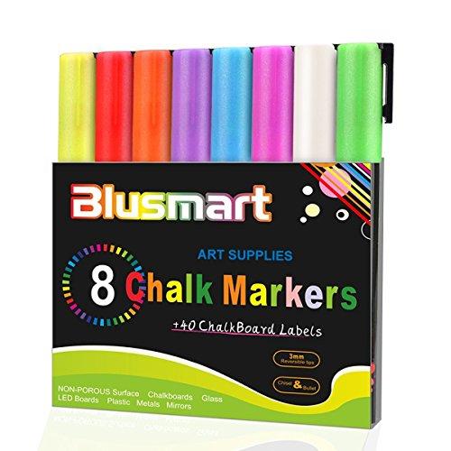 Blusmart Flüssigkreide-Stifte, 3mm, umdrehbare Spitzen, inklusive 40Kreidetafel-Etiketten,...