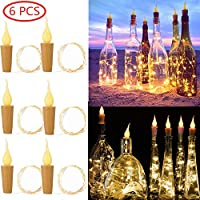 UOUNE Wine Bottle Candle Cork String Lights, 6 Pcs Candle Shaped Fairy Light, 2M 20 LEDs Copper Wire Night Lamp for Party, Wedding, Christmas,Home Decoration -Warm White, Battery Operated,Rope Lights
