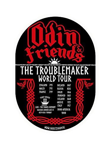 Preisvergleich Produktbild Odin and Friends- Troublemaker World Tour Wikinger Weltreise Aufkleber Autoaufkleber Sticker Vinylaufkleber Decal
