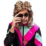 NET TOYS Protziges Kostüm-Zubehör-Set mit Brille, Kette & Ring Proll | Goldfarben | Universelle Männer-Accessoires Dollar-Zeichen geeignet für 90er-Party & Mottoparty
