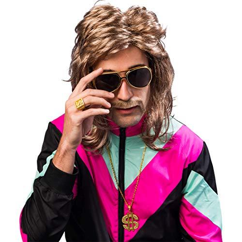 NET TOYS Protziges Kostüm-Zubehör-Set mit Brille, Kette & Ring Proll | Goldfarben | Universelle Männer-Accessoires Dollar-Zeichen | Bestens geeignet für 90er-Party & Mottoparty (Für Mode 90er Männer Jahre)