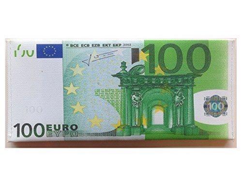 Portafogli Cucito a Mano Con Disegno Falsa Banconota Valute Sterlina Britannica Dollaro Euro - 100 EURO