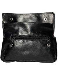 Black Leather Tobacco Pouch rubber lining pocket for Rolling paper lighter