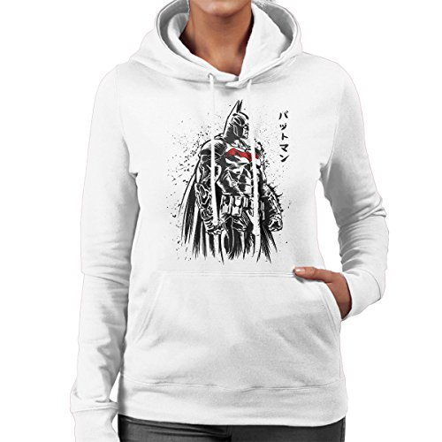 Dark Knight Batman Sketch Women's Hooded Sweatshirt White