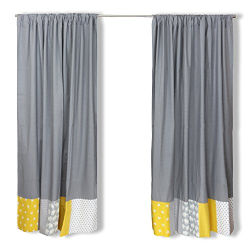 Tende patchwork ullenboom ® per la cameretta per bambini 140x170, elefanti, giallo (tende per la cameretta per bambini, cotone, 2 teli)