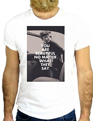 T SHIRT Z0419 YOU ARE BEAUTIFUL NO MATTER WHAT THEY SAY AUDREY BREAKFAST GGG24 BIANCA - WHITE