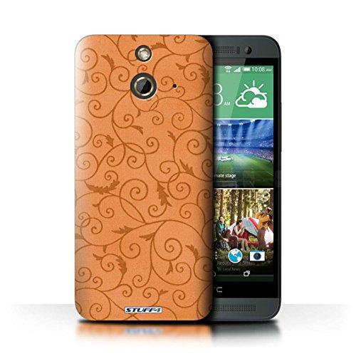 Kobalt® Imprimé Etui / Coque pour HTC One/1 E8 / Orange conception / Série Motif de la vigne Orange