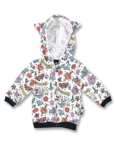 Six Bunnies cute Tattoo Flash Rockabilly Baby Hoodie Kapuzen Sweatjacke m. Katzenöhrchen, Farbe:weiß, Kindergrößen:0-3 Monate (Kapuzen-sweatshirt Bunny)