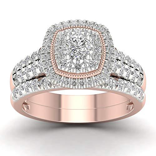 Anello di fidanzamento nuziale in oro 14 ct con diamante 1,00 ctw (i2-clarity-h-i-color) e oro rosa 14 ct, 18,5, cod. hr-rb14038-8.5-r