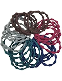 Evolution Elastic Rubber Band Metal Free Velvet Fabric Grip Hair Ties For Women (Pack Of 30)