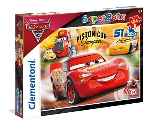 Clementoni- cars 3 supercolor puzzle, 104 pezzi, 27075