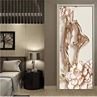 SZYUY Mural Removable Door Stickers Embossed Rose Gold Flower Beauty Waterproof Living Room Bedroom Door Wallpaper Self Adhesive Wall Decals