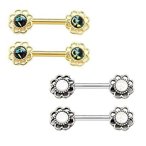 BodyJ4You Nipple Piercing Bar Flower Created-Opal Body Piercing 14G (1.6mm)
