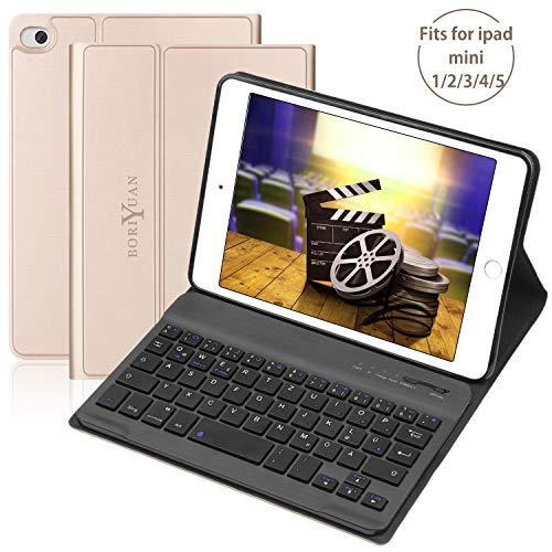 BORIYUAN Tastatur Hülle für ipad Mini 5 Mini 4 Mini 3/2/1 - Magnetischen Schlaf/Wach mit Abnehmbar German Tastatur - Gold - Tastaturen Mini Ipad Für Das