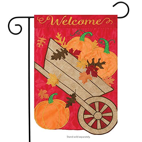 CHKWYN Welcome Wheelbarrow Applique Garden Flag Embroidered Autumn 2 Sided for Party Outdoor Home Decor Size: 12.5-inches W X 18-inches H Side Drape Applique