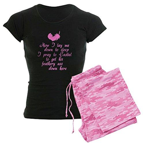 CafePress Damen-Dark Pyjama–Supernatural Castiel Damen Dark Schlafanzüge With Pink Camo Pant