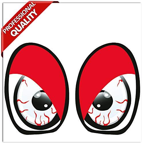 2 Stück Vinyl Lustiger Aufkleber Autoaufkleber Funny Stickers Evil Eyes Bösartig Augen Auto Moto Motorrad Fahrrad Skate Helm Fenster Spiegel Tür Tuning B 86