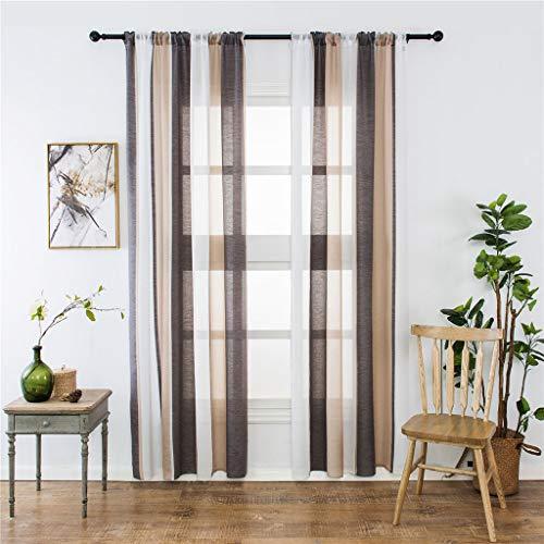 2 STÜCKE Transparente Vorhänge mit Ösen Streifen Voile Gardinen Dekoschal Fensterdekoration für Wohnzimmer und Küche, Tüll Gardine Gardine Voile Vorhänge Vorhang (Kaffee)