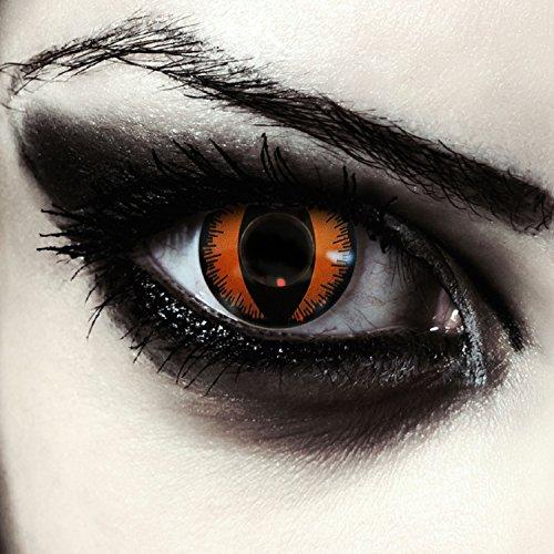 Orangene Drachen Augen Kontaktlinsen für Karneval oder Halloween Kostüm Farblinsen in orange Design: Orange Dragon + gratis Kontaktlinsenbehälter (innerhalb Dt.)