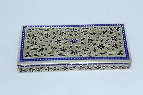 Rajasthan gemme India smalto Cloisonne lavoro su argento sterling 925portagioie marcato