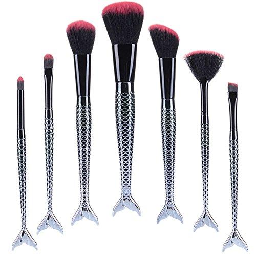 Ttrwin® 7 pcs Lot de pinceaux de maquillage Queue de poisson Argent Fond de teint Pennelli Trucco Unicorn Pincel Maquiagem Pinceaux Pincel Pinceaux Maquillage