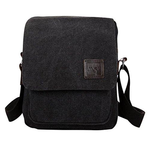 Baymate Unisex Canvas Schultertasche Handtasche Tasche Freizeit Messenger Bag Schwarz