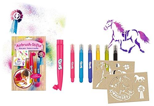 Airbrush Stifte Set mit 6 Stiften, 2 Pferdeschablonen, Mundstück und ...