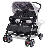 Festnight Baby Twin Stroller/Pram Lightweight Pushchair - Grey and Black, Steel and Fabric