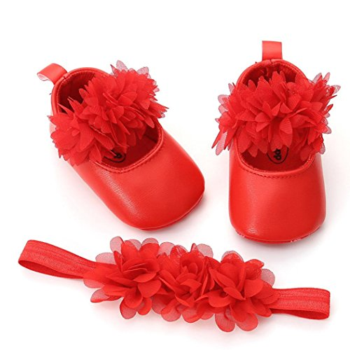cinnamou Babyschuhe, Kids Blume Schuhe Mode Leder Kleinkind Erste Wanderer + 1 STÜCK Haarband Neugeborenen Krabbelschuhe Anti-Rutsch-Weiche Sohle 0-6 Monate 6-12 Monate 12-18 Monate