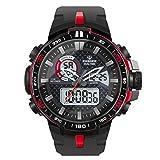 Hiwatch Montre Homme de Sport de Plein Air Étanche Numérique Quartz Militaire Multifonction LED Date Alarme Chronomètre Rouge