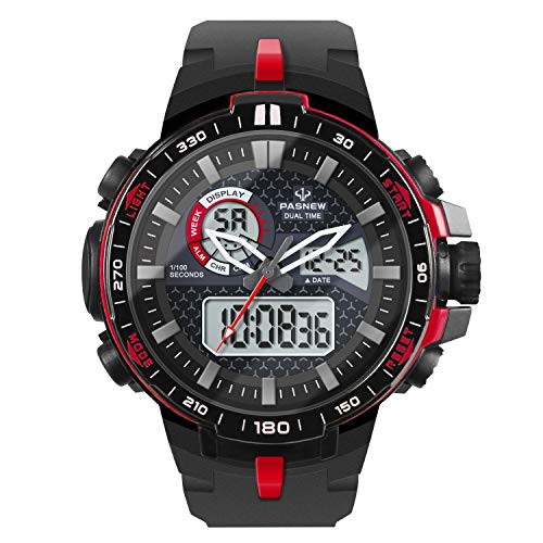 Hiwatch Montre Homme de Sport de Plein Air Étanche Numérique Quartz Militaire avec Multifonction LED Date Alarme Chronomètre Rouge