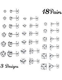 Milacolato Stainless Steel Stud Earrings for Men and Women 3 mm - 8 mm 18 Pairs