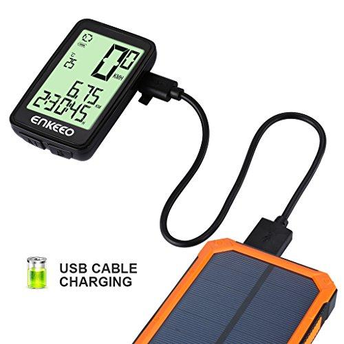 Enkeeo Aufladbare Fahrradcomputer – 1205 Fahrradtacho wasserdicht Radcomputer mit Kabel, 12 Stunden LCD Hintergrundbeleuchtung, Trittfrequenz Sensor, Kilometerzähler - 2