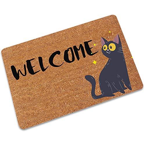 Teppich für Wohnzimmer Non Bodenmatte Lustig Teppich Bürostuhl Mat Eingang Fußmatten Küche Teppich gleitet, Schwarze Katze, 60x90cm