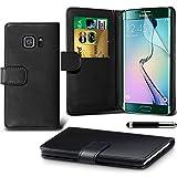 Gadget Giant® Samsung Galaxy S6 Edge Black Farbe PU Lederetui Buch-Stil Handy Hülle mit Displayschutz-Folie - befristetes Angebot !