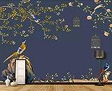 Papier Peint 3D Mural Hd Main Dessinée Fleur Et Oiseau Peinture Peinture Décorative Amovible Amovible Sticker Mural Home Decor Art