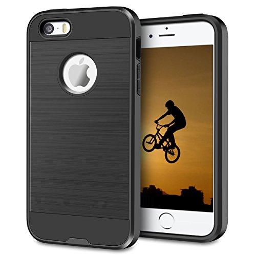 Cover iPhone 5S,Cover iPhone 5,Cheeringary Nero Bumper Cover Apple iPhone SE / 5S / 5 360 Gradi Hybrid Doppio Strato TPU + PC Assorbimento Urto Protettiva Custodia iPhone SE 5S 5 Slim Phone Case Nero