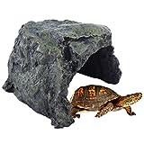 MRKE Harz Reptil Schildkröte Haus Höhle Versteck Habitat Ornament für Aquarium, 18 x 18 x 12cm