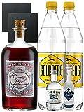 Gin-Set Monkey 47 SLOE GIN Schwarzwald Dry Gin 0,5 Liter + The Duke München Dry Gin 5 cl + Citadelle Gin aus Frankreich 5 cl + 2 x Goldberg Tonic Water 1,0 Liter + 2 Schieferuntersetzer quadratisch 9,5 cm