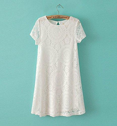 Damen Kleider Kurzarm Beiläufig Spitze Von Koobea Weiß