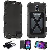 Alienwork Schutzhülle für Samsung Galaxy Note 4 Ständer Hülle Case Bumper Stoßfest Edelstahl schwarz SN9100D-01
