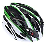 TOOGOO(R) 18 Vents Ultralight integralmente modellata Bicicletta Casco sportivo con visiera Mountain Bike Bicycle per gli adulti (bianco-nero-verde)